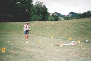 2000 - Anflug kurz vor dem Aufsetzen des Modells am 9.7.2000              beim Ziellandewettbewerbs des MFK-Breitenfurt.
