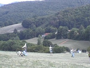 2003 - Flugtag -  Zagi Massenstart. Man beachte die Eigendynamik eines Zagis links außen.