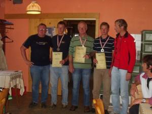 Staatsmeisterschaft F3F am Stuhleck - Manfred Dittmayer, 2. Philipp Stary, 1. Franz Prasch, 3. David Stary u. Kurt Planitzer